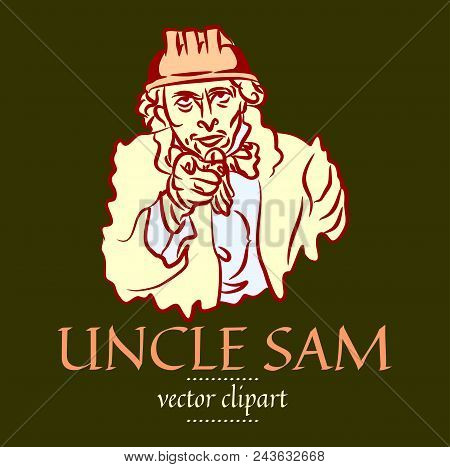 """Simple flat contour vector portrait of Uncle Sam in a construction helmet. Caricature of the USA symbol """"Uncle Sam wants you"""" - a man in a protective hard hat and vintage clothing points with his finger poster"""