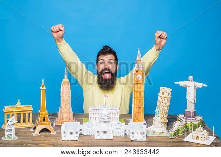 Worlds Monuments, Architectural Landmarks, Miniature Concept - Happy Bearded Man Raised His Hands Up