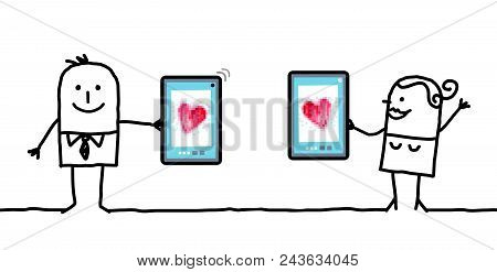 Vector Cartoon Couple Watching Hearts On Tablets
