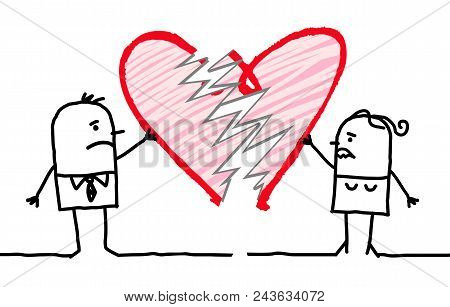 Vector Cartoon Couple Braking A Big Heart