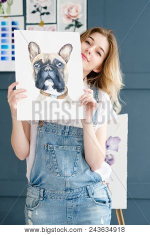 Crafty Room. Artful Studio. Creative Painter Workspace. Artist Showing Her Picture