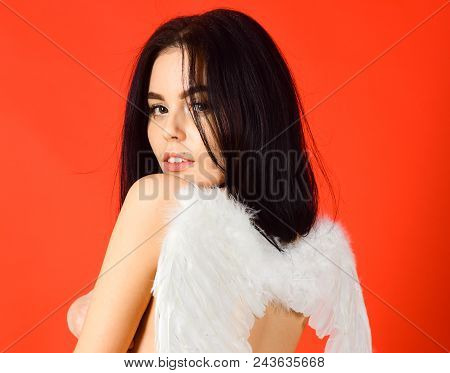 Lady Sexi Dressed As Angel, Red Background, Rear View. Girl Naked, Tender And Pure, Innocent. Angel