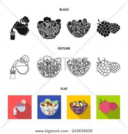 Fruit, Vegetable Salad And Other Types Of Food. Food Set Collection Icons In Black, Flat, Outline St