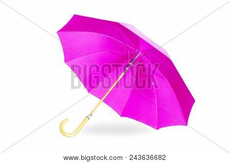 Modern Purple Umbrella Isolated On White Background With Shadow.