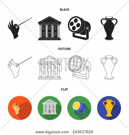 Conductor Baton, Theater Building, Searchlight, Amphora.theatre Set Collection Icons In Black, Flat,