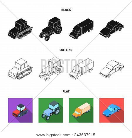 Tractor, Caterpillar Tractor, Truck, Car. Transport Set Collection Icons In Black, Flat, Outline Sty