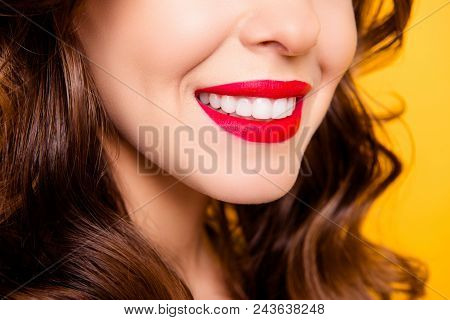 Closeup Cropped Half Face Portrait Of Half-turned Lady With Beaming Smile White Healthy Teeth Having