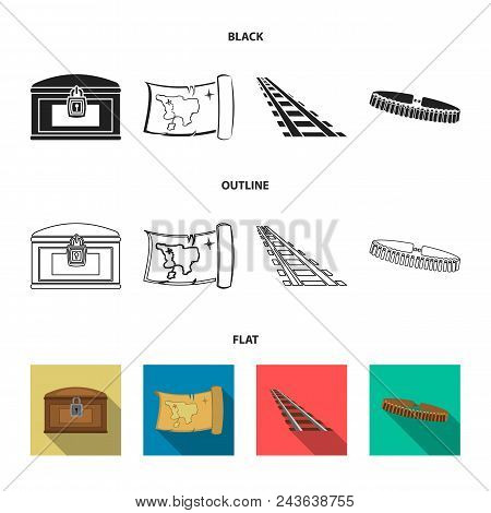 Treasure Map, Chest, Rails, Patrol.wild West Set Collection Icons In Black, Flat, Outline Style Vect