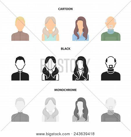 Boy Blond, Bald Man, Girl With Tails, Woman.avatar Set Collection Icons In Cartoon, Black, Monochrom