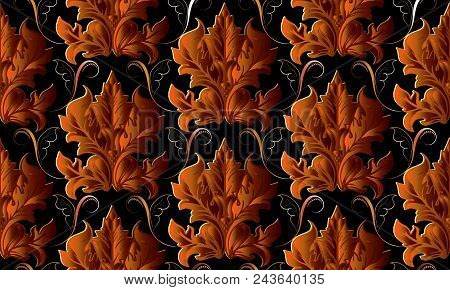 Baroque Vector Seamless Pattern. Luxury Antique Floral Background. Damask Ornaments With Bright Oran