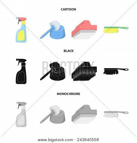 Cleaning And Maid Cartoon, Black, Monochrome Icons In Set Collection For Design. Equipment For Clean