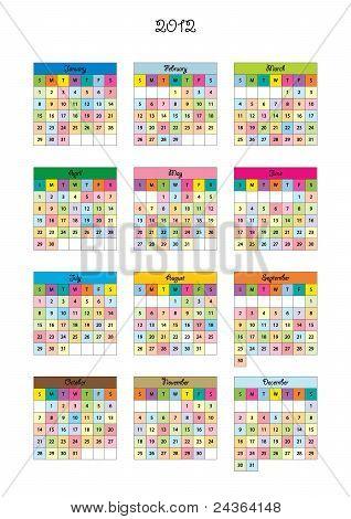 Calendar for kids for 2012