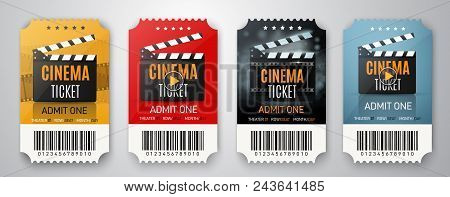 Movie Cinema Premiere Poster Or Flyer Design. Vector Cinema Tickets Background.