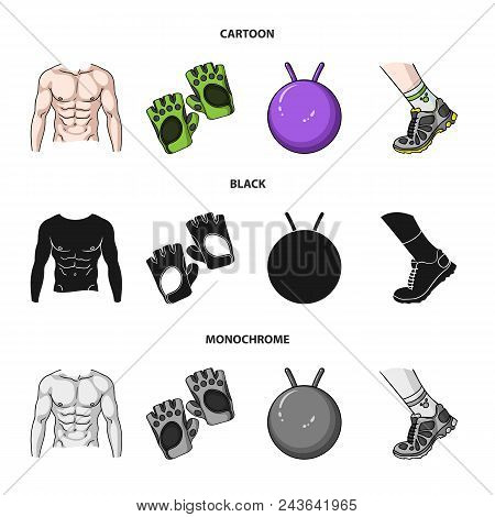 Men Torso, Gymnastic Gloves, Jumping Ball, Sneakers. Fitnes Set Collection Icons In Cartoon, Black,