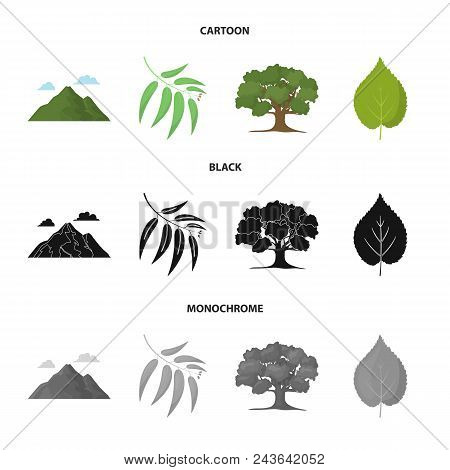 Mountain, Cloud, Tree, Branch, Leaf.forest Set Collection Icons In Cartoon, Black, Monochrome Style