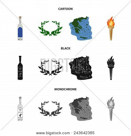 Greece, Country, Tradition, Landmark .greece Set Collection Icons In Cartoon, Black, Monochrome Styl