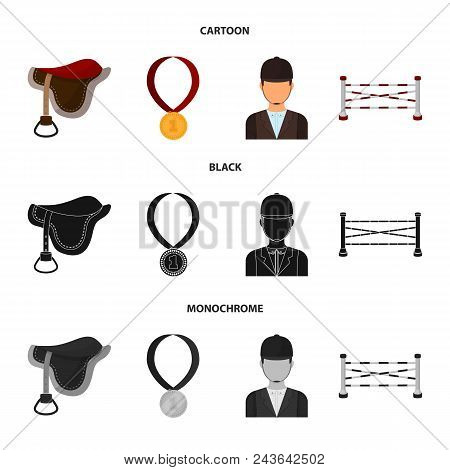 Saddle, Medal, Champion, Winner .hippodrome And Horse Set Collection Icons In Cartoon, Black, Monoch
