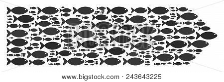 Direction Arrow Vector Concept. Abstraction Is Built From Fish Items In Different Sizes. Fish Symbol