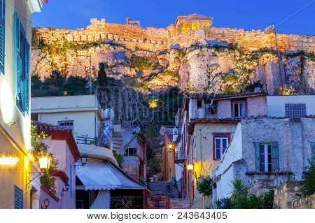 Historic District Plaka Acropolis Hill And Parthenon At Dawn. Athens. Greece.