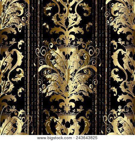 Gold Baroque Striped Seamless Pattern. Vector Luxury Antique Background. Golden 3d Wallpaper. Vintag