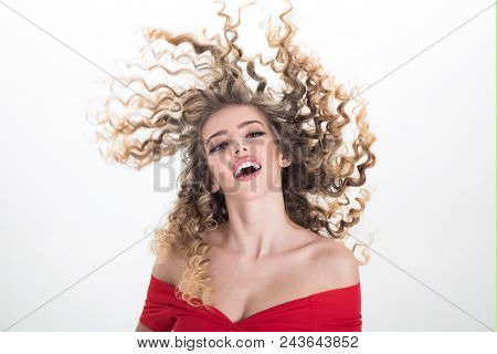 Blonde Long Hair Woman Girl With Curly Hair. Portrait Of Positive Girl With Curly Hair Isolated On W
