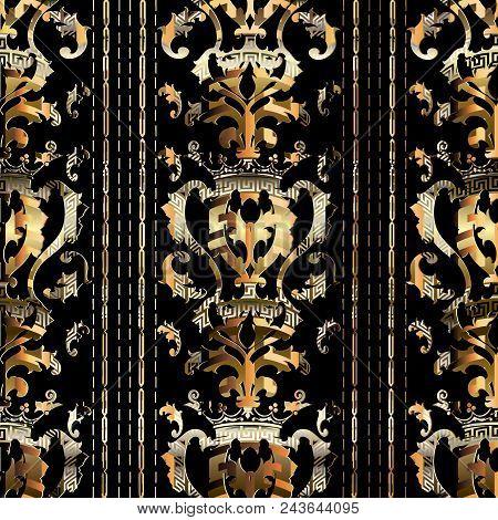 Royal Gold Baroque Seamless Pattern. Vector Striped Background. Golden 3d Wallpaper. Vintage Damask