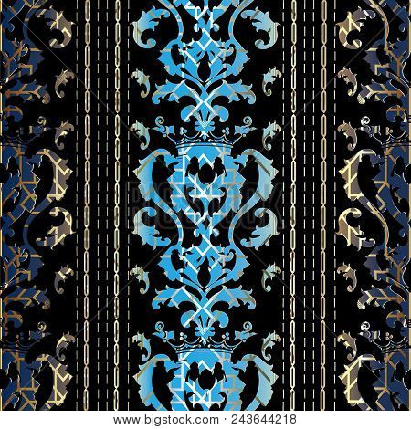 Baroque Striped Seamless Pattern. Vector Luxury Antique Background. Royal Wallpaper. Vintage Damask