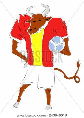 Soccer Mascot For Spain.   Spain Bull Mascot For Football Tournaments.