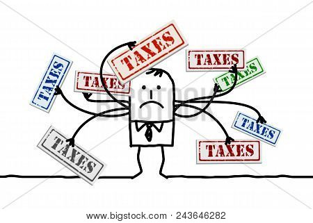 Vector Cartoon Man With Too Many Taxes