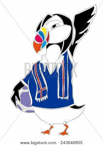 Soccer Mascot For Iceland.  Iceland Penguin Mascot For Football Tournaments.