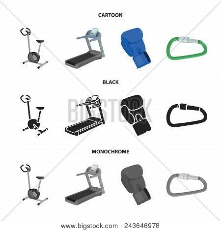 Exercise Bike, Treadmill, Glove Boxer, Lock. Sport Set Collection Icons In Cartoon, Black, Monochrom