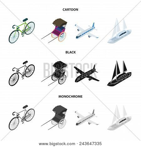 Bicycle, Rickshaw, Plane, Yacht.transport Set Collection Icons In Cartoon, Black, Monochrome Style V