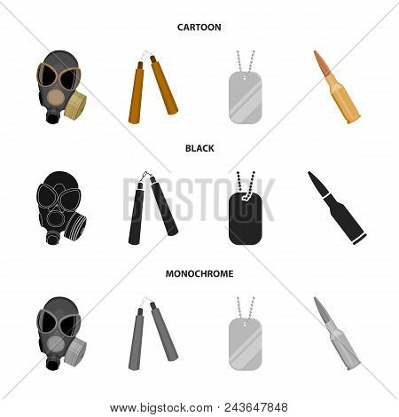 Gas Mask, Nunchak, Ammunition, Soldier Token. Weapons Set Collection Icons In Cartoon, Black, Monoch