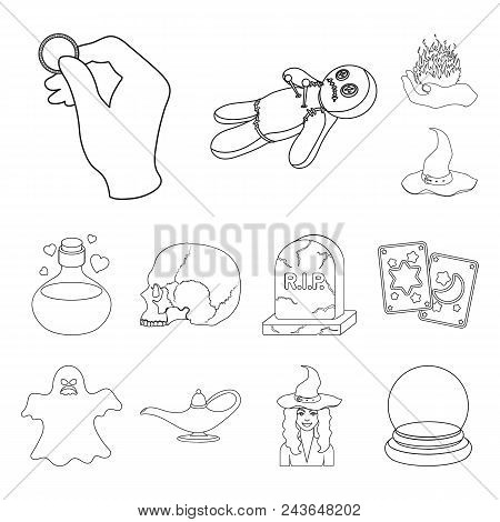 Outline And White Magic Outline Icons In Set Collection For Design. Attributes And Sorceress Accesso