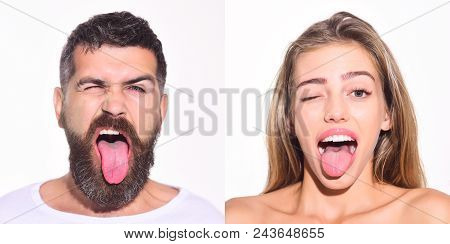 People&positive Emotions Concept. Set Of Man And Woman Emotional Portraits. Collection Of Funny Face