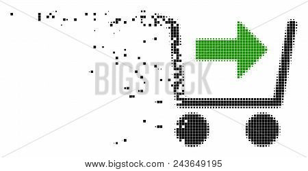 Dispersed Purchase Cart Dot Vector Icon With Wind Effect. Rectangular Elements Are Organized Into Da