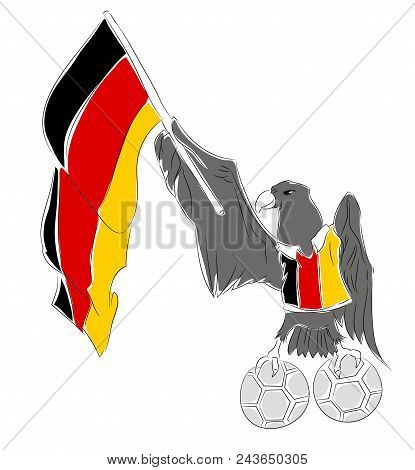 Soccer Mascot For Germany.  Germany Eagle Mascot For Football Tournaments
