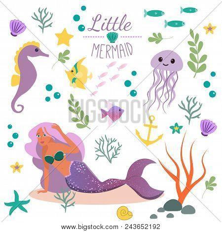 Cute Set Little Mermaid And Underwater World. Fairytale Princess Mermaid And Seahorse, Fish, Jellyfi