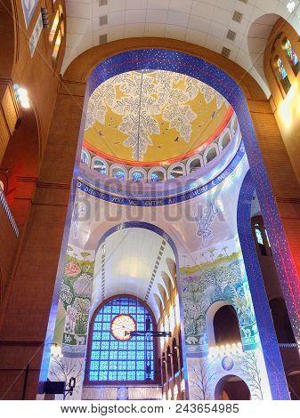 March 24, 2018, Aparecida, São Paulo, Brazil, Inside Of The Central Nave And Dome Of The Basilica Of