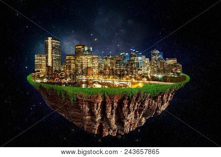Fantasy Floating Island Of Calgary At Night In Space. Abstract Idea And Concept.