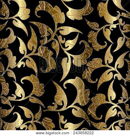 Floral Black Gold Vector Seamless Pattern. Foliage Baroque Background. Golden Leaves, Branches, Swir