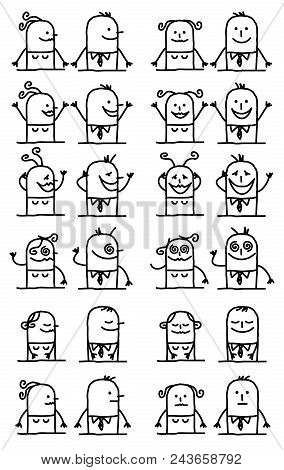 Vector Cartoon Characters Set - Happy And Funny Faces