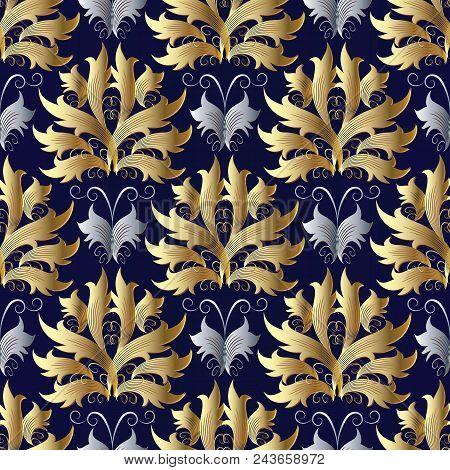 Gold Silver Baroque Vector Seamless Pattern. Damask Blue Background. Floral Wallpaper. Vintage Scrol