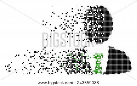 Dissolved Boss Dotted Vector Icon With Erosion Effect. Square Elements Are Arranged Into Dispersed B