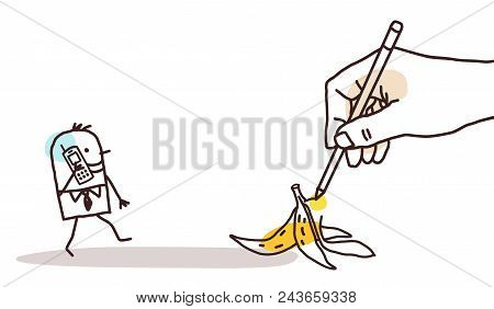 Vector Drawing Big Hand - Cartoon Walking Man And Banana Peel