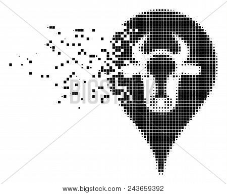 Dissolved Cattle Marker Dot Vector Icon With Erosion Effect. Rectangle Cells Are Composed Into Disso