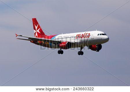 Borispol, Ukraine - May 26, 2018: 9h-aen Air Malta Airbus A320-200 Aircraft On The Blue Sky Backgrou