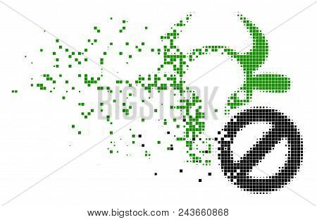 Dispersed Cow Forbidden Dotted Vector Icon With Erosion Effect. Rectangular Dots Are Grouped Into Di