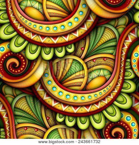 Colored Seamless Pattern With Ethnic Motifs. Endless Texture With Abstract Design Element. Khokhloma