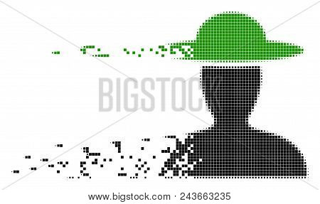Dissolved Farmer Person Dotted Vector Icon With Wind Effect. Square Elements Are Composed Into Dispe